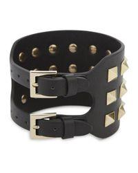 Valentino | Rockstud Black Leather Cuff | Lyst