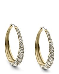 Michael Kors | Metallic Pavé Hoop Earrings | Lyst