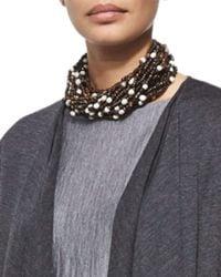 Eskandar | Brown Multi-strand Beaded Choker Necklace | Lyst