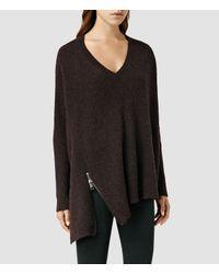 AllSaints | Purple Able Zip Sweater | Lyst