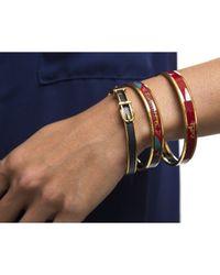Hermès - Purple Preowned Logos Burgundy Enamel Gold 70 Bangle Bracelet - Lyst