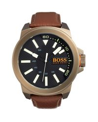 BOSS Orange - Brown 'new York' Texture Dial Leather Strap Watch for Men - Lyst
