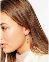 Orelia - Metallic Mini Feather Hoop Earrings - Lyst