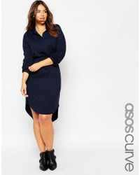 Asos Curve | Blue Waisted Shirt Dress In Jersey | Lyst