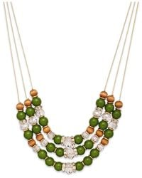 INC International Concepts - Gold-tone Green Three-row Frontal Necklace - Lyst