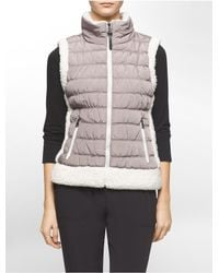 Calvin Klein - Natural White Label Performance Faux Shearling Trim Puffer Vest - Lyst