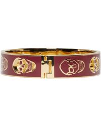 Alexander McQueen - Red Burgundy And Gold Cut_out Enamel Bracelet - Lyst