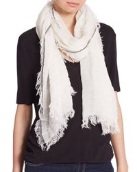 Rag & Bone | White Beacon Fringed Woven Scarf | Lyst