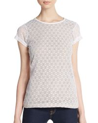 Saks Fifth Avenue Black Label - White Lace-paneled Jersey Tee - Lyst