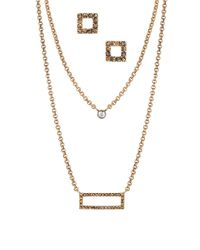 Lucky Brand - Metallic Pave Stud Earrings And Layered Necklace Set - Goldtone - Lyst
