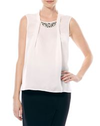 Laundry by Shelli Segal | White Embellished Pleated-front Top | Lyst
