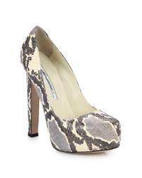 Brian Atwood | Natural Maniac Snakeskin Platform Pumps | Lyst