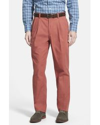 Bills Khakis | Red 'm2' Standard Fit Pleated Cotton Poplin Pants for Men | Lyst