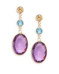 Effy | Multicolor Final Call Amethyst, Blue Topaz, Lemon Quartz & 14k Yellow Gold Drop Earrings | Lyst