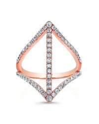 Anne Sisteron - Pink 18kt Rose Gold Diamond Spear Ring - Lyst