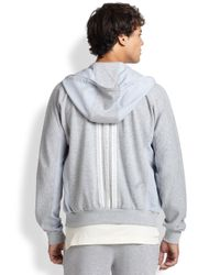 Y-3 - Gray Full-zip Striped Back Track Jacket for Men - Lyst