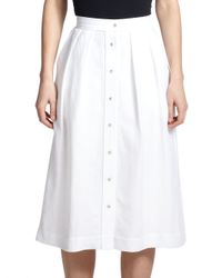 MILLY | White Button-front Midi Skirt | Lyst