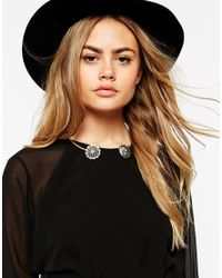 ASOS - Metallic Open Ended Disc Collar Necklace - Lyst