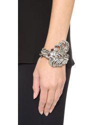 Oscar de la Renta - Metallic Feather Bracelet Crystalsilver - Lyst