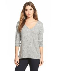 Gibson - Gray 'yummy Fleece' High/low V-neck Pullover - Lyst