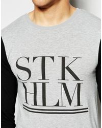 ASOS - Black Muscle Long Sleeve T-shirt With Stockholm Print And Contrast Sleeves for Men - Lyst