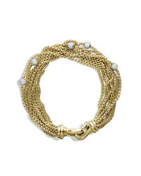 David Yurman | Metallic Eight-row Chain Bracelet With Diamonds In 18k Gold | Lyst