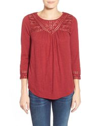 Lucky Brand | Red Chevron Lace Yoke Top | Lyst