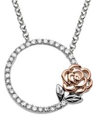 Lord & Taylor | Metallic Sterling Silver And 14Kt Rose Gold Diamond Necklace | Lyst
