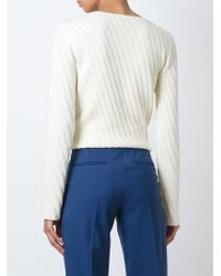 AALTO | Natural Diagonal Knit Sweater | Lyst