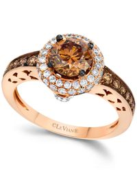 Le Vian - Brown Chocolate And White Diamond Engagement Ring In 14k Rose Gold (1-5/8 Ct. T.w.) - Lyst