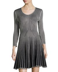 Catherine Malandrino - Black Metallic Striped Sweaterdress - Lyst