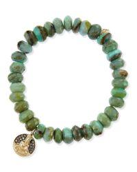 Sydney Evan | Buddha Medallion Green Opal Bead Bracelet with Champagne Diamonds | Lyst