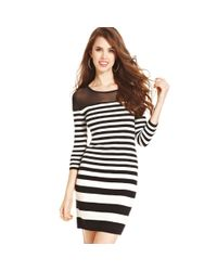 Jump | Black Juniors Three quarter-sleeve Striped Dress | Lyst