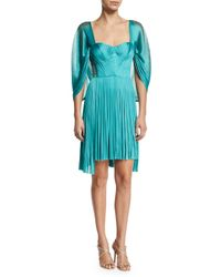 Maria Lucia Hohan - Green Bliss Pleated Silk-tulle Cape-sleeve Dress - Lyst