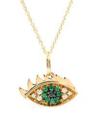 Delfina Delettrez | Metallic Diamonds Emerald and Gold Eye Necklace | Lyst