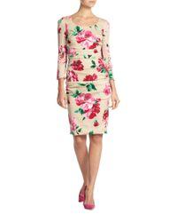 Dolce & Gabbana - Pink Floral-print Stretch Silk Ruched Dress - Lyst