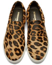 DSquared² - Brown Calf-hair Slip-on Sneakers for Men - Lyst