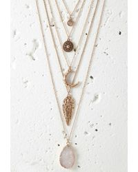 Forever 21 | Metallic Faux Stone Necklace Set | Lyst