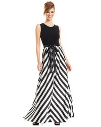 Betsy & Adam | Black Chevron-striped Gown | Lyst