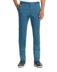 PT01 | Blue Camo-cuff Flat-front Linen & Cotton Trousers for Men | Lyst