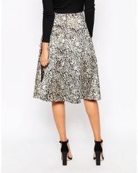 AX Paris - Metallic Boutique Midi Skirt - Lyst