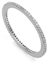 Monica Vinader | Metallic Silver Diamond Skinny Eternity Ring | Lyst