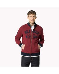 Tommy Hilfiger - Red Cotton Blend Zip Through Sweater for Men - Lyst