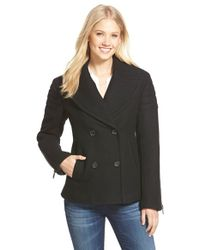 Nicole Miller - Black Short Wool Blend Peacoat - Lyst