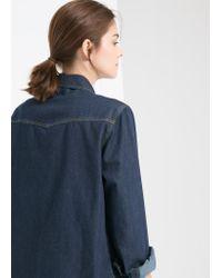 Mango - Blue Dark Denim Shirt - Lyst