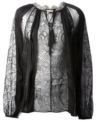 Emilio Pucci | Black Ostrich Feather-trimmed Jersey Top | Lyst