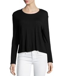 T By Alexander Wang - Black Classic Cropped Long-sleeve Tee - Lyst