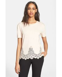 The Kooples | Natural Lace Trim Jersey Tee | Lyst