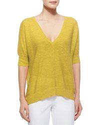 Eileen Fisher - Yellow Linen & Cotton-Blend Top - Lyst