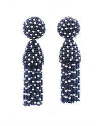 Oscar de la Renta | Blue Short Polka Dot Tassel Earrings | Lyst